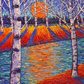 Ana Maria Edulescu - Fall Birches Sunrise 2 Contemporary Impressionist Palette Knife Oil Painting By Ana Maria Edulescu