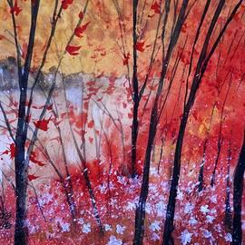 David K Myers - Fall Fire, Gouache Painting