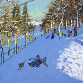 Family sledging, Youlgreave, Derbyshire - Andrew Macara
