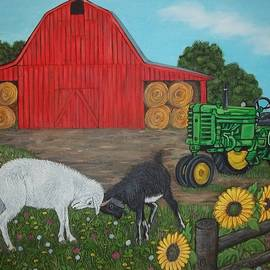 Sofya Mikeworth - Farm scene with Red Barn, Goats, Old tractor