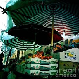 Miriam Danar - Farmers Market with Striped Umbrellas