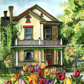 Shelley Wallace Ylst - Farmhouse with Spring Tulips