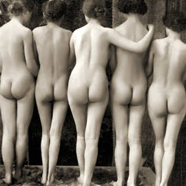 Female Nude Quintet - French School