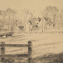 Field and Mill at Osny  - Camille Pissarro