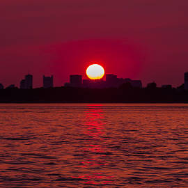 Brian MacLean - Fiery Sunset over the Boston Waterfront