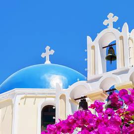 Antony McAulay - Fira church pink flowers
