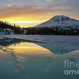 Fire and Ice Rainier Winter Reflection - Mike Reid