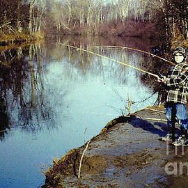 Merton Allen - Fishing the Kayaderoseres Creek in Saratoga NY