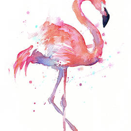 Flamingo Watercolor Facing Right - Olga Shvartsur