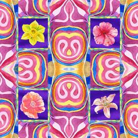 Irina Sztukowski - Floral Collage Daffodil Hibiscus Poppy Lily
