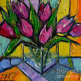 Mona Edulesco - Floral Miniature - Abstract 0615 - Pink Tulips