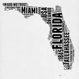 Florida Word Cloud Map 2 - Naxart Studio