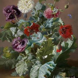 Adele Schuster - Flower Piece with Poppies and Butterflies