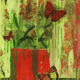 P J Lewis - Flowers,Butteriflies, and Vase