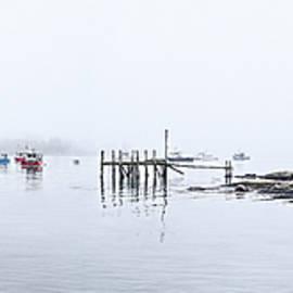 Marty Saccone - Fog Lifting Stonington Harbor Panorama