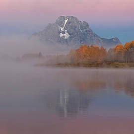 Wes and Dotty Weber - Foggy Alpen Glow at Oxbow Bend D3517