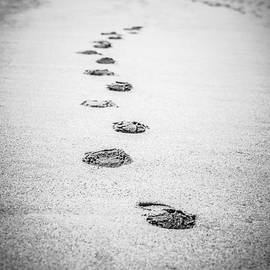 Footprints in the Sand Picture in Black and White  - Paul Velgos