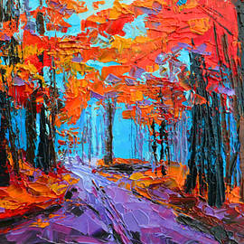 Patricia Awapara - Autumn Forest Purple Path - Orange Red Foliage - Modern Impressionist Palette Knife oil painting