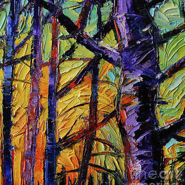 Forest layers 2 - modern impressionist palette knives oil painting - Mona Edulesco
