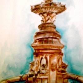 Patricia Ducher - Fountain in the City Square Lourdes Francr