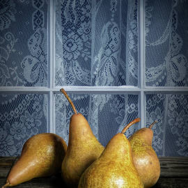 Four Bartlett Pears by a Window with Curtain Lace