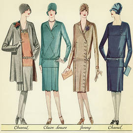 Four Flappers Modelling French Designer Outfits, 1928 - American School