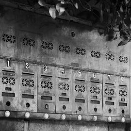 Greg Mimbs - French Quarter Mail Boxes In Black And White