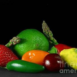 R Muirhead Art - fruits veg strawberry peppers cherry Asparagus