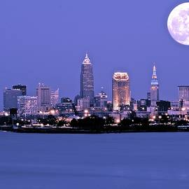 Frozen in Time Fine Art Photography - Full Moon over Cleveland