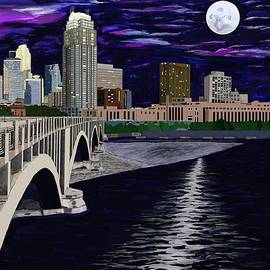 Jeanne Fischer - Full Moon Over Minneapolis
