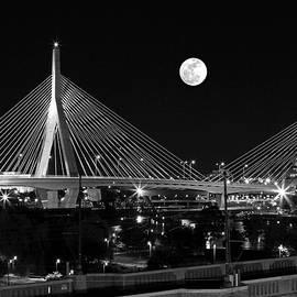 Juergen Roth - Full Moon Rising over Boston Zakim Bridge