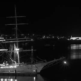 Pedro Cardona - fully rigged in Port Mahon at night