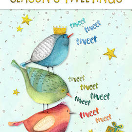 Natalie Kinnear - Funny Christmas Card - Seasons Tweetings