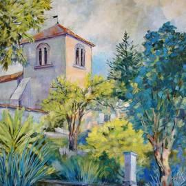 Cathy MONNIER - gardens and church in Fleac