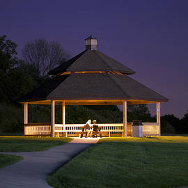 Thomas Woolworth - Gazebo During The Blue Moments Frankfort IL