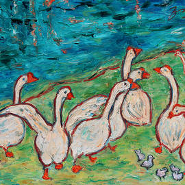 Xueling Zou - Geese by the Pond