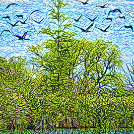 Joel Bruce Wallach - Geese Glide Over Still Pond
