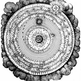 Geocentric universe showing the Earth surrounded by the spheres of water, air and fire, and stars - Robert Fludd