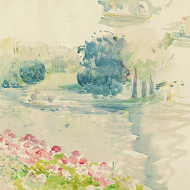 Geraniums by the lake - Berthe Morisot