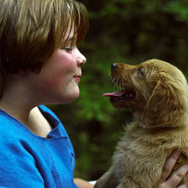Sally Weigand - Girl and Puppy Engaging