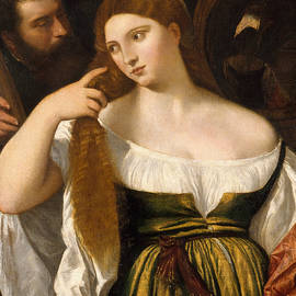 Girl Before the Mirror - Titian and workshop