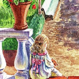 Irina Sztukowski - Girl In The Garden With Teddy Bear