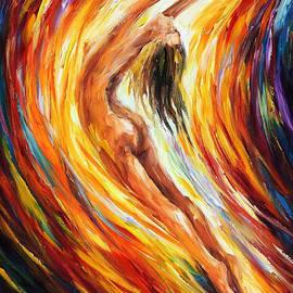 Leonid Afremov - Gold Falls - PALETTE KNIFE Oil Painting On Canvas By Leonid Afremov