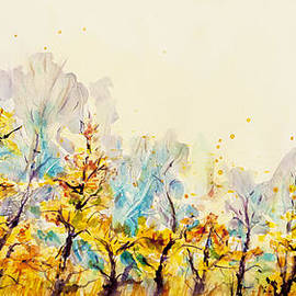 CheyAnne Sexton - Golden Autumn trees All in a Row watercolor