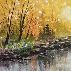 David K Myers - Golden River View, Watercolor Painting