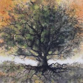 David K Myers - Golden Oak Tree, Original watercolor