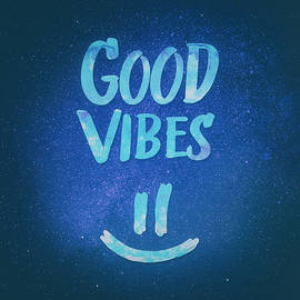 Philipp Rietz - Good Vibes  Funny Smiley Statement Happy Face Blue Stars Edit