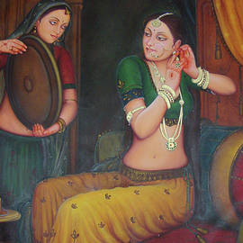 M B Sharma - Gorgeous Lady Queen  Dressing Herself in Collectibles Art Indian Traditional Canvas Oil Painting