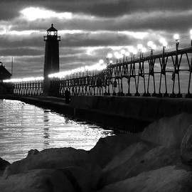 David T Wilkinson - Grand Haven Lighthouse Evening B W