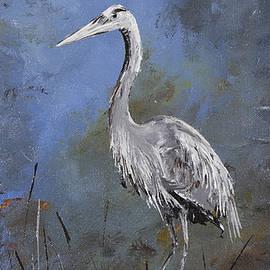 Carolyn Doe - Great Blue Heron in Blue